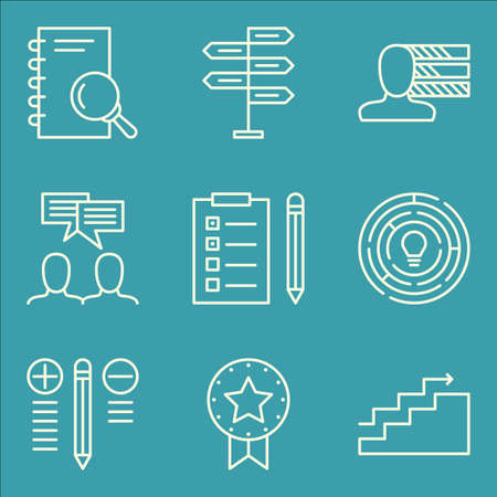 task list: Set Of Project Management Icons On Task List, Team Meeting, Research And More. Illustration
