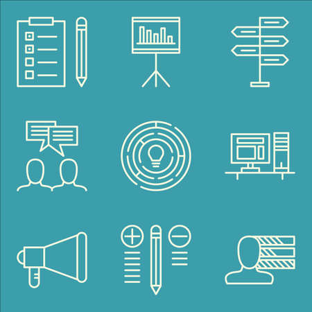 task list: Set Of Project Management Icons On Best Solution, Task List, Team Meeting And More.