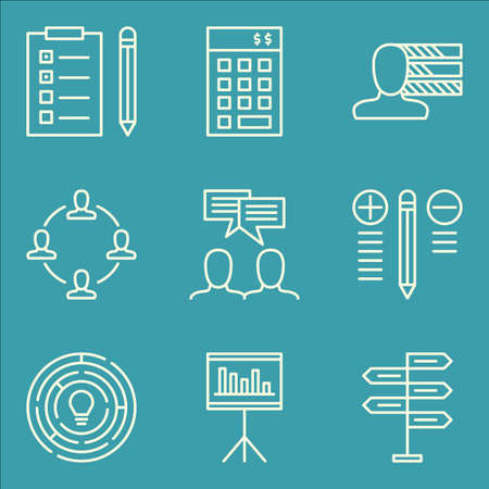 personality development: Set Of Project Management Icons On Creativity, Investment, Statistics And More. Illustration