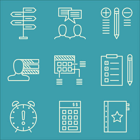 personality: Set Of Project Management Icons On Decision Making, Personality, Team Meeting And More.