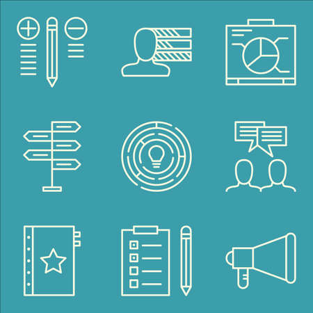 personality: Set Of Project Management Icons On Personality, Decision Making, Quality Management And More.