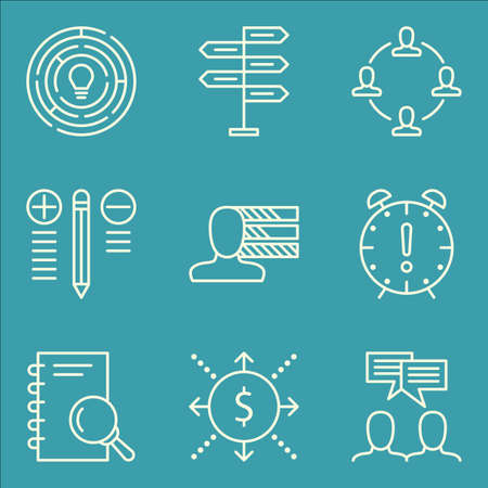 personality: Set Of Project Management Icons On Personality, Research, Teamwork And More.
