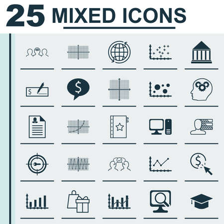 Set Of 25 Universal Icons On Changes Graph, World, Square Diagram And More Topics. Vector Icon Set Including Cooperation, Raise Diagram, PPC Icons.