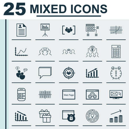 time sharing: Set Of 25 Universal Icons On Investment, Website Performance, Innovation And More Topics. Vector Icon Set Including Achievement Graph, Conference, Fail Graph Icons.