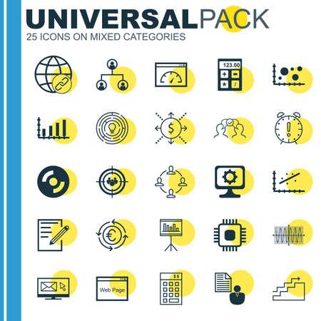 Set di 25 icone universali su chip, cooperazione, connettività e altri argomenti. Insieme dell'icona di vettore compreso Analytics, soldi, icone del PC.