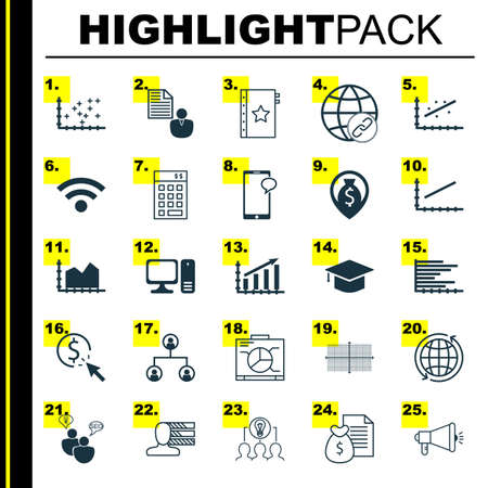 line up: Set Of 25 Universal Icons On Desktop Computer, Profit Graph, Line Up And More Topics. Vector Icon Set Including Wireless, Board, Investment Icons.