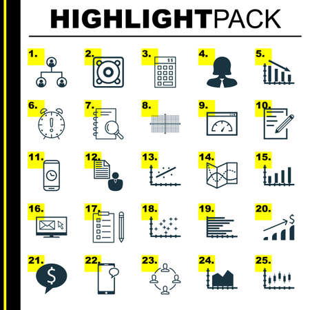 searching: Set Of 25 Universal Icons On Road Map, Stock Market, Report And More Topics. Vector Icon Set Including Call Duration, Fail Graph, Sequence Graphics Icons.