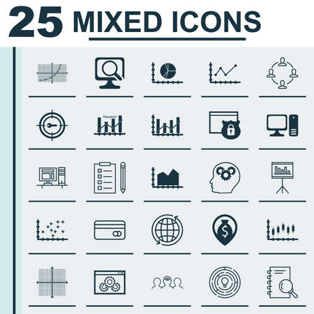 Set Of 25 Universal Icons On Presentation, Money Navigation, Stock Market And More Topics. Vector Icon Set Including Sequence Graphics, Circle Graph, Laptop Icons. Illustration