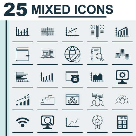 debt collection: Set Of 25 Universal Icons On Sequence Graphics, Growth, Analytics And More Topics. Vector Icon Set Including Analytics, Wallet, Discussion Icons. Illustration
