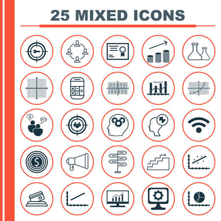 line up: Set Of 25 Universal Icons On Cosinus Diagram, Line Up, Line Up And More Topics. Vector Icon Set Including Wireless, Human Mind, Growth Icons.
