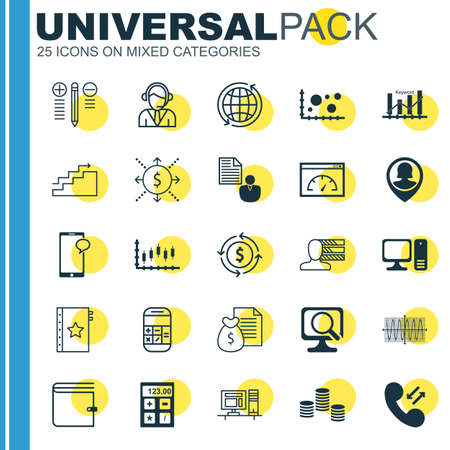 roaming: Set Of 25 Universal Icons On Cellular Data, Loading Speed, Calculation And More Topics. Vector Icon Set Including Laptop, Report, Pin Employee Icons.