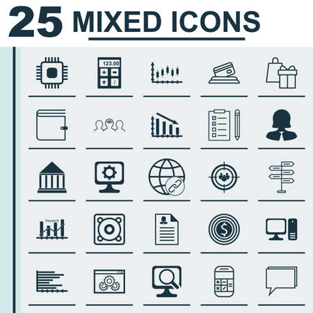optimisation: Set Of 25 Universal Icons On PC, Chip, Calculation And More Topics. Vector Icon Set Including Keyword Optimisation, Wallet, Connectivity Icons.