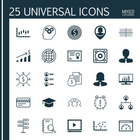 application recycle: Set Of 25 Universal Icons On Brain Process, Cooperation, Report And More Topics. Vector Icon Set Including Bank Card, Tree Structure, Successful Investment Icons. Illustration