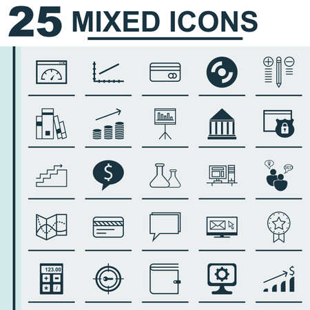 stock market quote: Set Of 25 Universal Icons On Computer, Wallet, Security And More Topics. Vector Icon Set Including Decision Making, Library, Bank Card Icons.