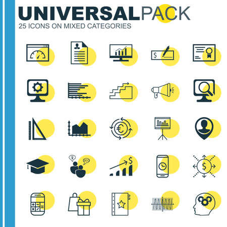 cosinus: Set Of 25 Universal Icons On Bank Payment, Employee Location, Cosinus Diagram And More Topics. Vector Icon Set Including Bank Payment, Currency Recycle, Successful Investment Icons.