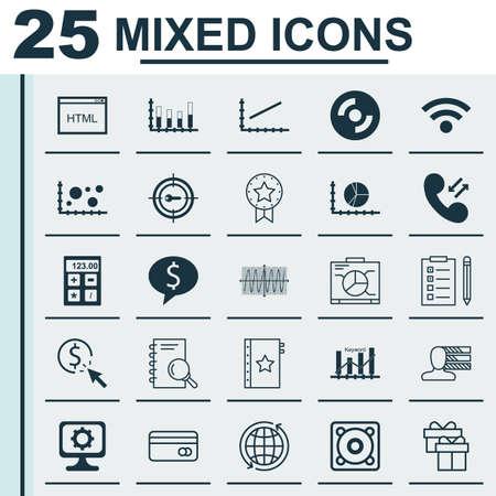 keyword: Set Of 25 Universal Icons On Keyword Marketing, Blank Cd, Analysis And More Topics. Vector Icon Set Including Analysis, Keyword Marketing, Wireless Icons.