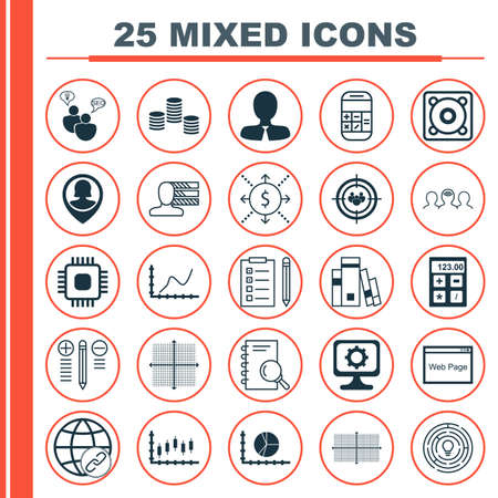 circle icon: Set Of 25 Universal Icons On Coaching, Chip, Circle Graph And More Topics. Vector Icon Set Including SEO Brainstorm, Connectivity, Square Diagram Icons.