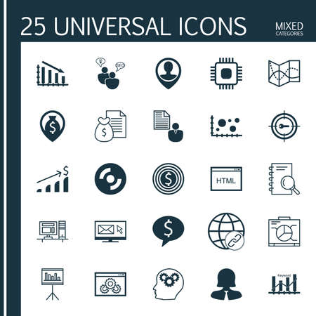 Set Of 25 Universal Icons On Employee Location, Money Navigation, Coding And More Topics. Vector Icon Set Including Website Performance, Comparsion, Chip Icons. Illustration