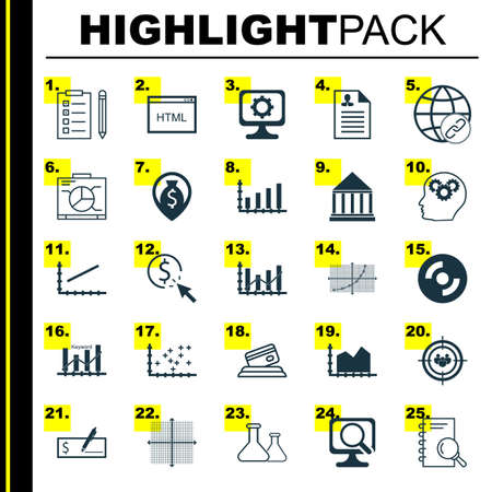 digicam: Set Of 25 Universal Icons On Plot Diagram, Dynamics, Coding And More Topics. Vector Icon Set Including Blank Cd, Money Navigation, Line Up Icons.