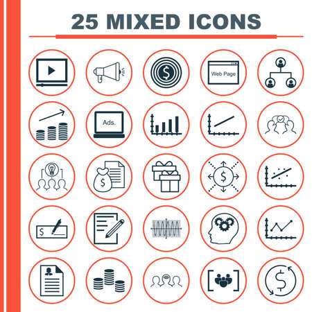 Set Of 25 Universal Icons On Website, Paper, Changes Graph And More Topics. Vector Icon Set Including Website, Coaching, Digital Media Icons. Vettoriali