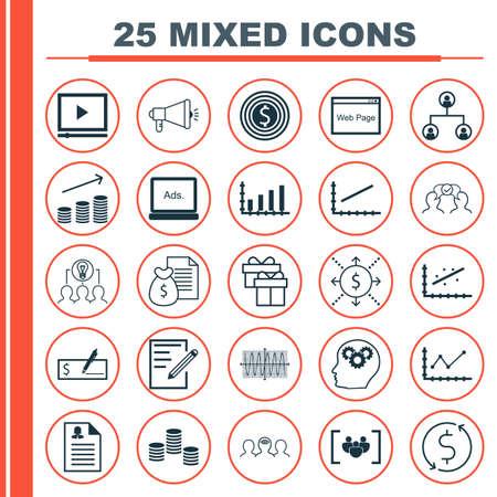 Set Van 25 Universele Pictogrammen Op de website, papier, Changes Grafiek En Meer onderwerpen. Vector Icon Set Inclusief Website, Coaching, Digital Media Pictogrammen. Stock Illustratie