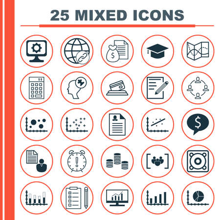 business deal: Set Of 25 Universal Icons On Reminder, Music, Business Deal And More Topics. Vector Icon Set Including Human Mind, Graduation, Collaboration Icons.
