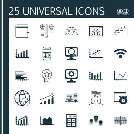 Set Of 25 Universal Icons On Growth, Analytics, Wallet And More Topics. Vector Icon Set Including Discussion, Website Performance, Wireless Icons.