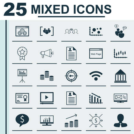 stock certificate: Set Of 25 Universal Icons On Newsletter, Money, Certificate And More Topics. Vector Icon Set Including Business Deal, Stock Market, Fail Graph Icons. Illustration