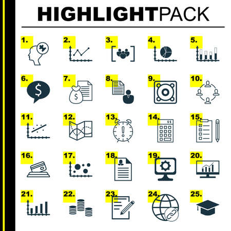 Set Of 25 Universal Icons On Report, Comparsion, Changes Graph And More Topics. Vector Icon Set Including Circle Graph, Investment, Dynamics Icons.