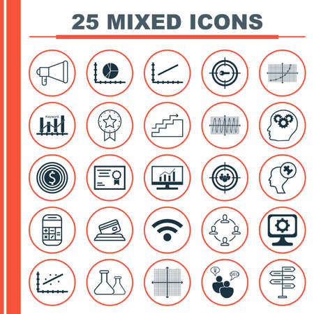 digicam: Set Of 25 Universal Icons On Line Up, Analytics, Certificate And More Topics. Vector Icon Set Including Human Mind, Certificate, Credit Card Icons. Illustration