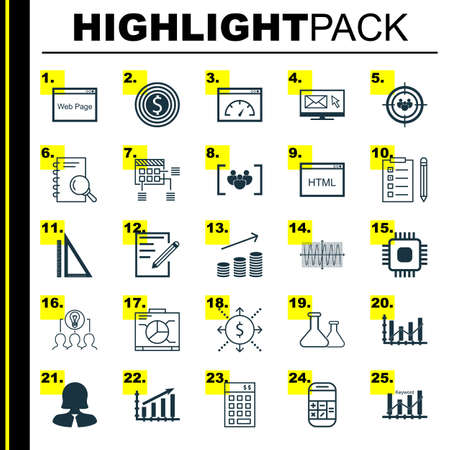 financial consultant: Set Of 25 Universal Icons On Business Goal, Investment, Chip And More Topics. Vector Icon Set Including Website, Coins Growth, Profit Graph Icons.
