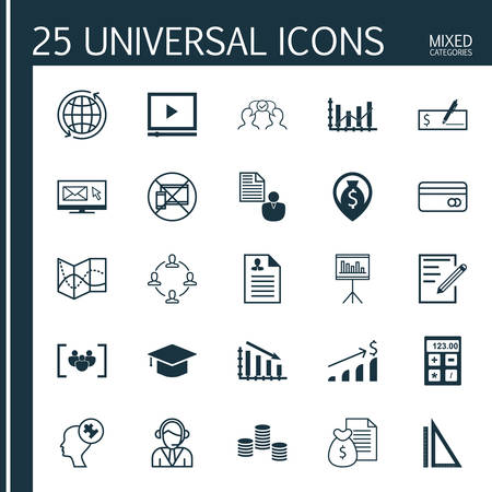 Set Of 25 Universal Icons On Raise Diagram, Money, Measurement And More Topics. Vector Icon Set Including Report, Forbidden Mobile, Paper Icons. Illustration