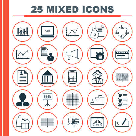checkbook: Set Of 25 Universal Icons On Website Performance, Curriculum Vitae, Sinus Graph And More Topics. Vector Icon Set Including Bank Card, Calculation, Digital Media Icons.