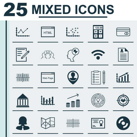 Set Of 25 Universal Icons On Certificate, Coins Growth, Plastic Card And More Topics. Vector Icon Set Including Plastic Card, Financial, Raise Diagram Icons.