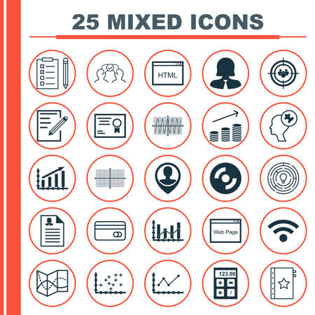 profit graph: Set Of 25 Universal Icons On Employee Location, Innovation, Changes Graph And More Topics. Vector Icon Set Including Profit Graph, Square Diagram, Wireless Icons. Illustration