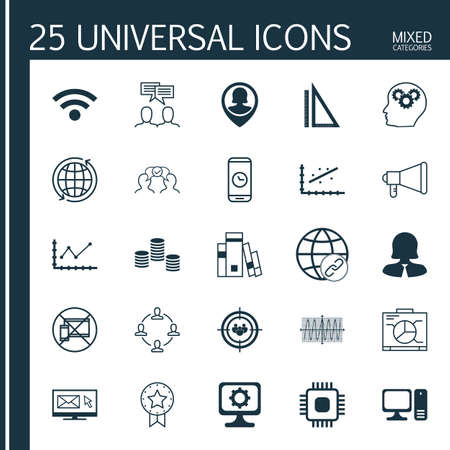 magazine stack: Set Of 25 Universal Icons On Board, Measurement, PC And More Topics. Vector Icon Set Including Present Badge, Call Duration, Newsletter Icons. Illustration