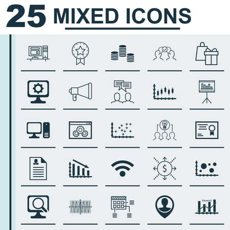 cosinus: Set Of 25 Universal Icons On Desktop Computer, Shopping, Cosinus Diagram And More Topics. Vector Icon Set Including Presentation, Announcement, Cosinus Diagram Icons. Illustration