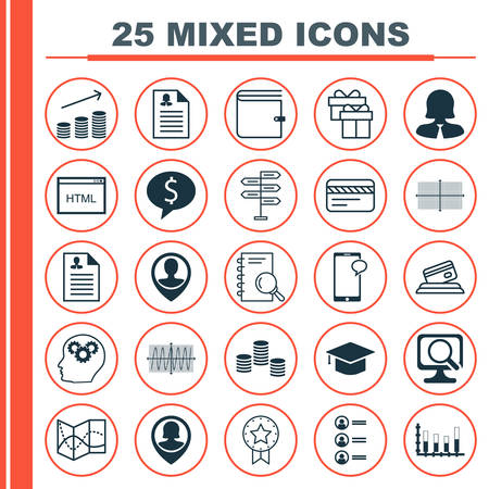 cosinus: Set Of 25 Universal Icons On Job Applicants, Business Woman, Business Deal And More Topics. Vector Icon Set Including Present Badge, Cosinus Diagram, Job Applicants Icons.