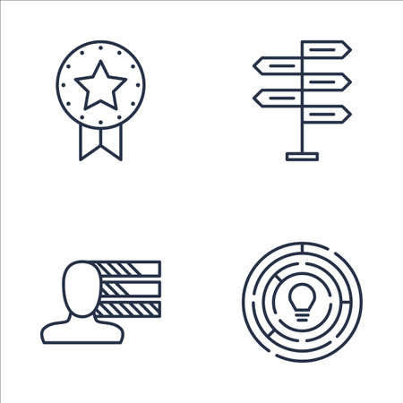 personality development: Set Of Project Management Icons On Creativity, Decision Making, Award And More. Premium Quality EPS10 Vector Illustration For Mobile, App, UI Design. Illustration