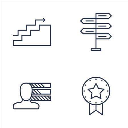 personality development: Set Of Project Management Icons On Charts, Award, Personality And More. Premium Quality EPS10 Vector Illustration For Mobile, App, UI Design.