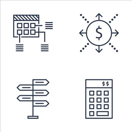cash flows: Set Of Project Management Icons On Planning, Cash Flow, Decision Making And More. Premium Quality EPS10 Vector Illustration For Mobile, App, UI Design. Illustration