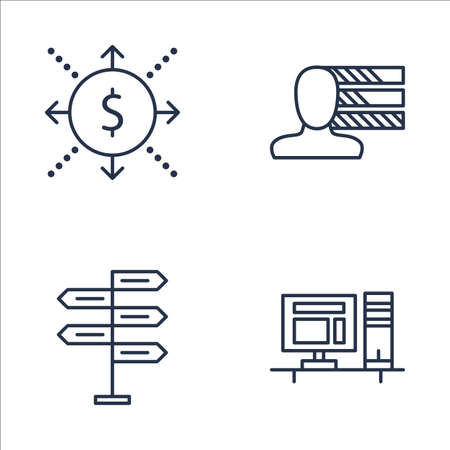 personality development: Set Of Project Management Icons On Workspace, Decision Making, Cash Flow And More. Premium Quality EPS10 Vector Illustration For Mobile, App, UI Design.