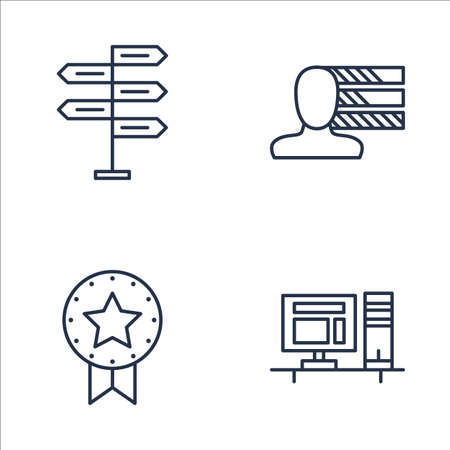 personality development: Set Of Project Management Icons On Decision Making, Workspace, Personality And More. Premium Quality EPS10 Vector Illustration For Mobile, App, UI Design.