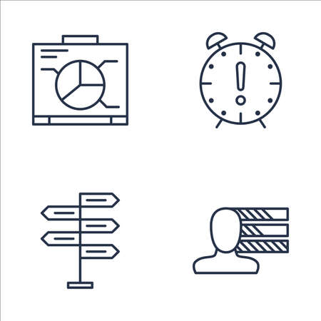 personality development: Set Of Project Management Icons On Decision Making, Personality, Graph And More. Premium Quality EPS10 Vector Illustration For Mobile, App, UI Design.