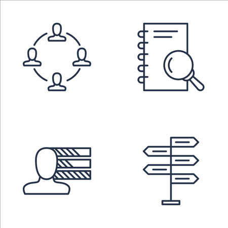 personality development: Set Of Project Management Icons On Personality, Teamwork, Research And More. Premium Quality EPS10 Vector Illustration For Mobile, App, UI Design. Illustration