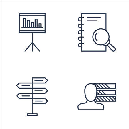 personality development: Set Of Project Management Icons On Statistics, Research, Personality And More. Premium Quality EPS10 Vector Illustration For Mobile, App, UI Design.