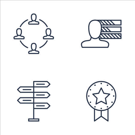 personality development: Set Of Project Management Icons On Personality, Decision Making, Award And More. Premium Quality EPS10 Vector Illustration For Mobile, App, UI Design.