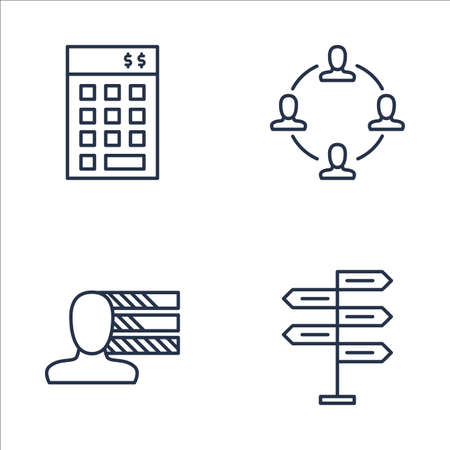 personality development: Set Of Project Management Icons On Decision Making, Personality, Investment And More. Premium Quality EPS10 Vector Illustration For Mobile, App, UI Design.