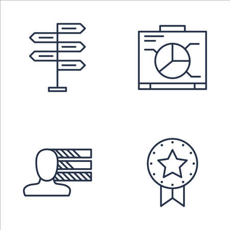 personality development: Set Of Project Management Icons On Graph, Award, Personality And More. Premium Quality EPS10 Vector Illustration For Mobile, App, UI Design.