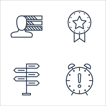 personality development: Set Of Project Management Icons On Award, Decision Making, Deadline And More. Premium Quality EPS10 Vector Illustration For Mobile, App, UI Design. Illustration